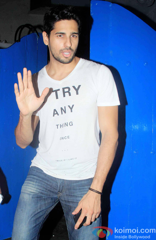 Sidharth Malhotra at the party hosted by Deepika padukone for the succes of movie Piku