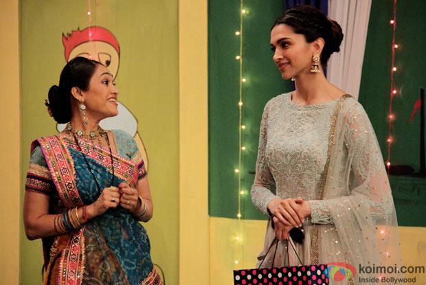 Disha Vakani & Deepika Padukone on the sets of 'Taarak Mehta Ka Ooltah Chashmah'
