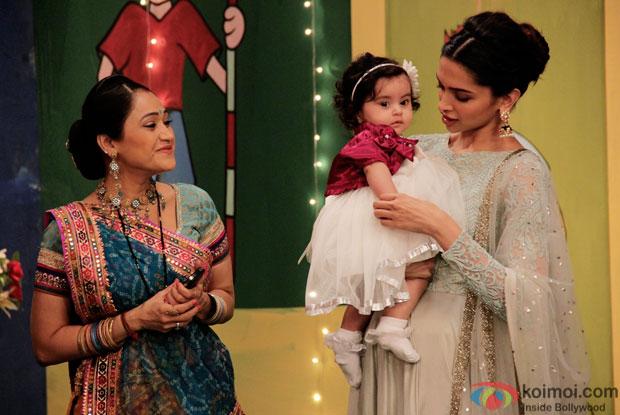 Disha Vakani, Khushi & Deepika Padukone on the sets of 'Taarak Mehta Ka Ooltah Chashmah'