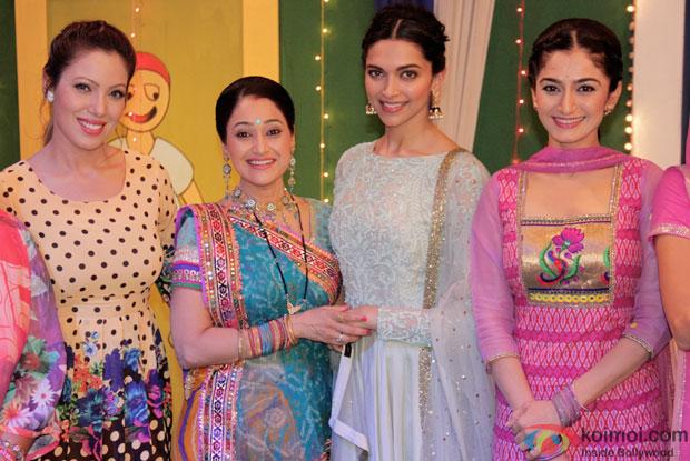 Munmun, Disha Vakani, Deepika Padukone and Neha on the sets of 'Taarak Mehta Ka Ooltah Chashmah'