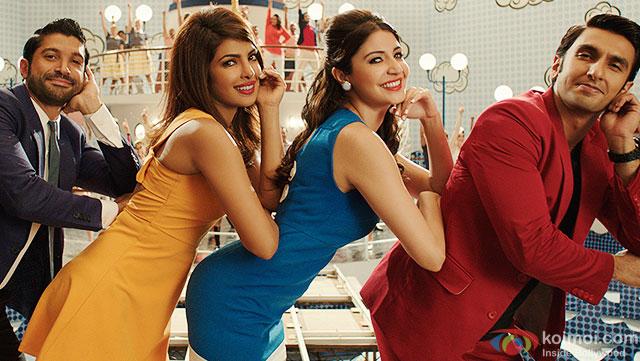 Farhan Akhtar, Priyanka Chopra, Anushka Sharma and Ranveer Singh in a still from movie 'Dil Dhadakne Do'