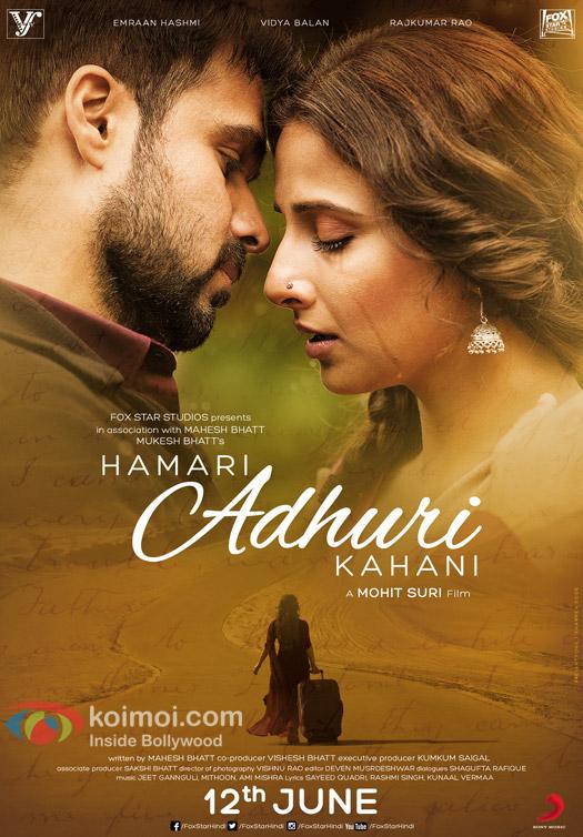 Emraan Hashmi and Vidya Balan in a still from 'Hamari Adhuri Kahani' movie poster