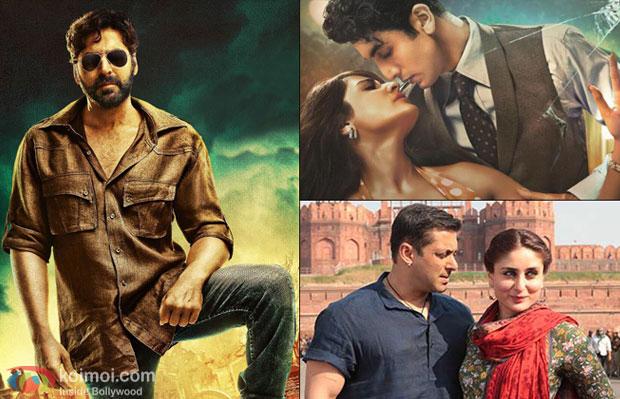 A still from movies 'Gabbar Is Back', 'Bombay Velvet' and 'Bajrangi Bhaijaan'