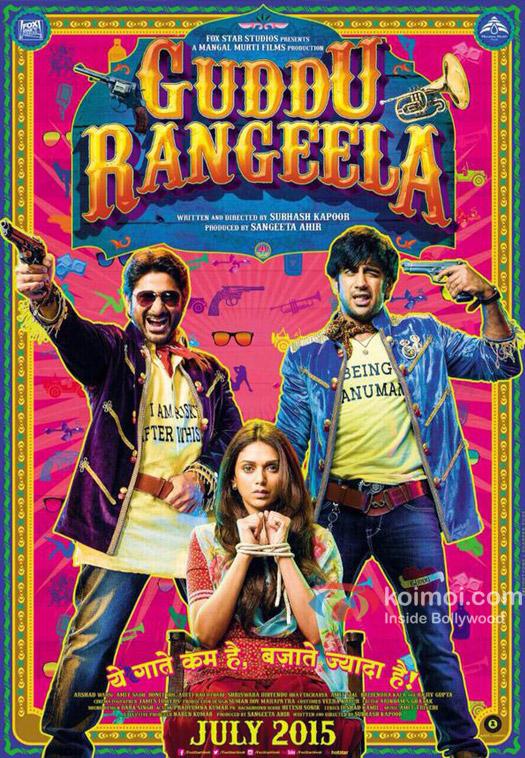 Arshad Warsi, Aditi Rao Hydari and Amit Sadh in a 'Guddu Rangeela' movie poster