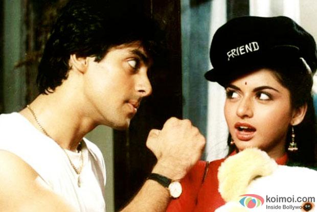 Salman Khan and Bhagyashree in a still from movie 'Maine Pyar Kiya'