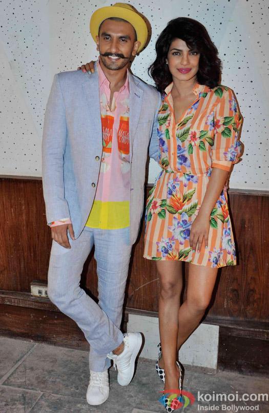 Ranveer Singh and Priyanka Chopra during the media interaction of movie Dil Dhadakne Do