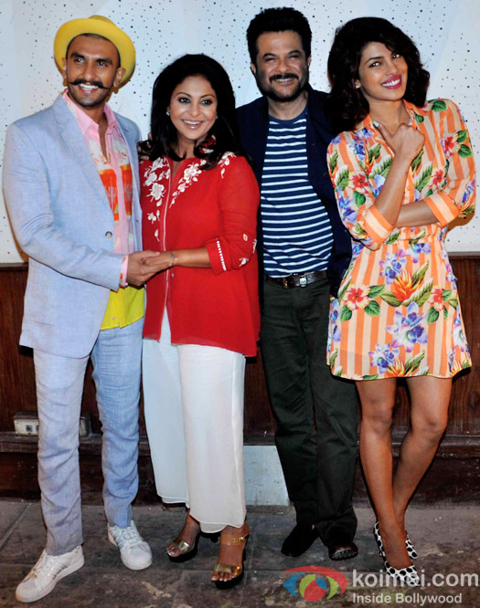 Ranveer Singh, Shefali Shah, Anil Kapoor and Priyanka Chopra during the media interaction of movie Dil Dhadakne Do