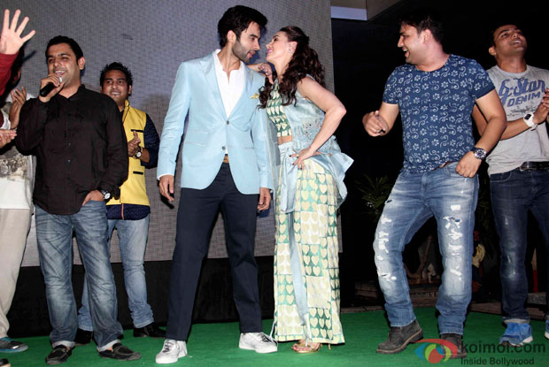 Jackky Bhagnani and Lauren Gottlieb during the music launch of Welcome to Karachi