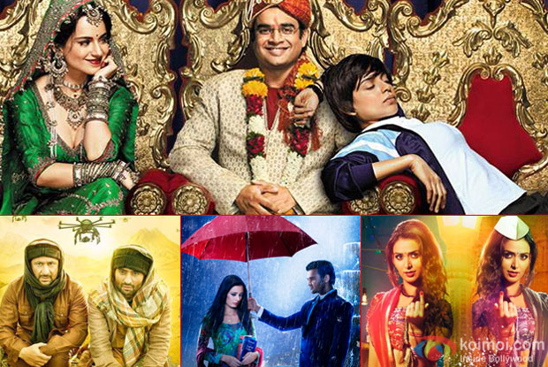 A still from Tanu Weds Manu Returns, Welcome To Karachi, ishqedarriyaan and P Se PM Tak  Movie posters