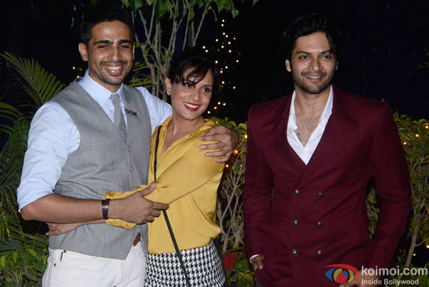 Gulshan Devaiya, Richa Chadda and Ali Fazal during the Omung Kumar's 'Mary Kom' success bash
