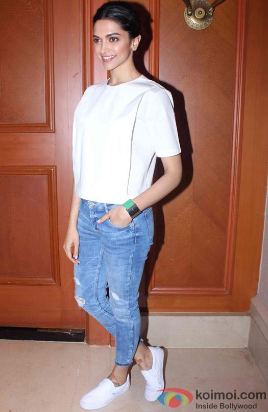 Deepika Padukone during the press meet of movie 'Piku'