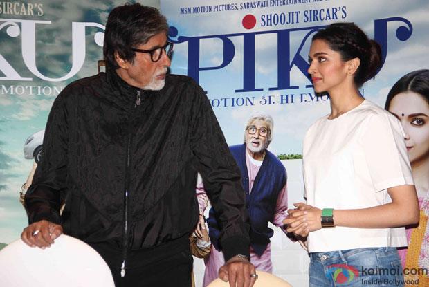 Amitabh Bachchan and Deepika Padukone during the press meet of movie 'Piku'
