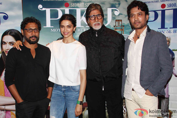 Shoojit Sircar, Deepika Padukone, Amitabh Bachchan and Irrfan Khan during the press meet of movie 'Piku'