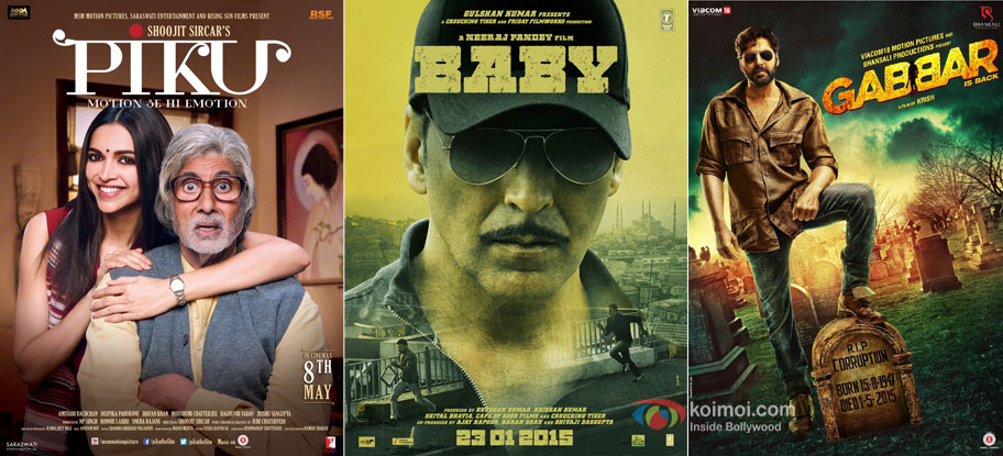 Piku, Baby and Gabbar Is Back movie posters