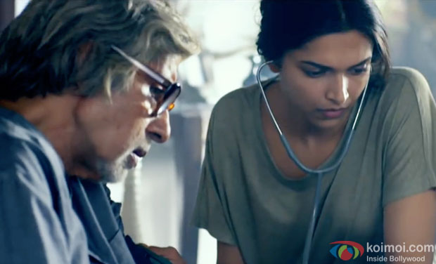 Amitabh Bachchan and Deepika Padukone in a still movie 'Piku'