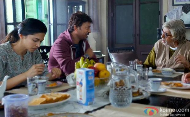 Deepika Padukone, Irrfan Khan and Amitabh Bachchan in a still from movie 'Piku'