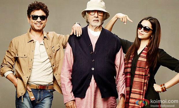 Irrfan Khan, Amitabh Bachchan and Deepika Padukone in a still movie 'Piku'