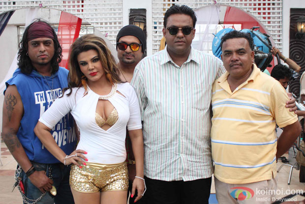 Rakhi Sawant, DJ Sheizwood and Avadh Sharma during a on location song shoot Party Punjab Style