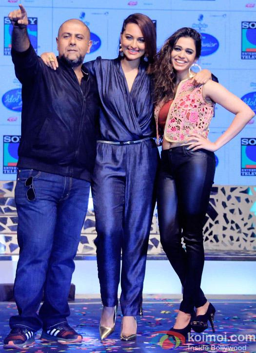 Vishal Dadlani, Sonakshi Sinha and Shalmali Kholgade during the press conference of reality show Indian Idol Junior