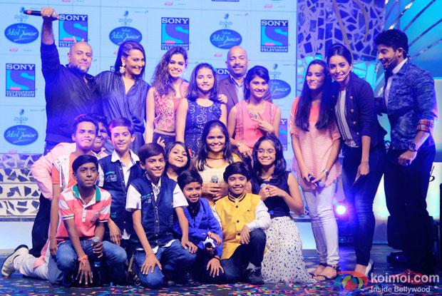 Vishal Dadlani, Sonakshi Sinha, Shalmali Kholgade,Asha Negi and Hussain Kuwajerwala with contestant during the press conference of reality show Indian Idol Junior