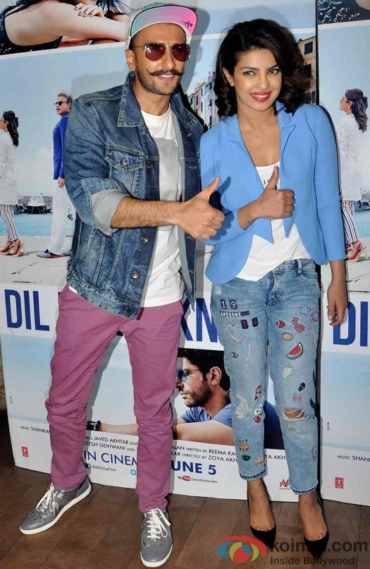 Ranveer Singh and Priyanka Chopra during the special screening of Dil Dhadakne Do at Lightbox