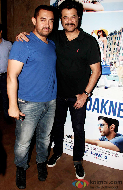 Aamir Khan and Anil Kapoor during the special screening of Dil Dhadakne Do at Lightbox