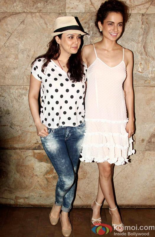 Preity Zinta and Kangana Ranaut during the special screening of Tanu Weds Manu Returns at Lightbox
