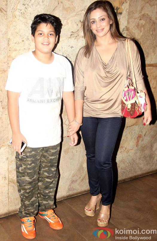Priyanka Puri with son Veer Shergill during the special screening of Tanu Weds Manu Returns at Lightbox