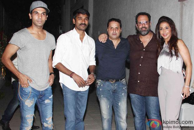 Rajkummar Rao, Dhanush, Sunil Lulla, Anand L Rai and Krishika Lulla during the success party of Tanu Weds Manu Returns