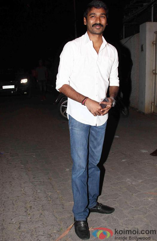 Dhanush during the success party of Tanu Weds Manu Returns