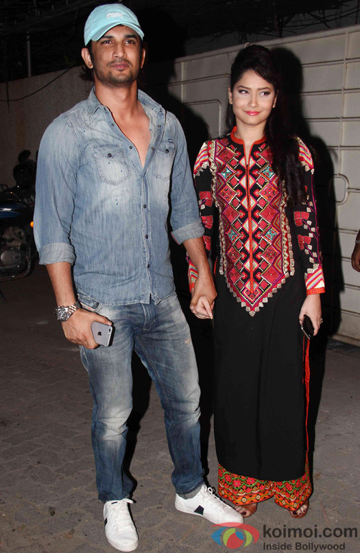 Sushant Singh Rajput and Ankita Lokhande during the success party of Tanu Weds Manu Returns