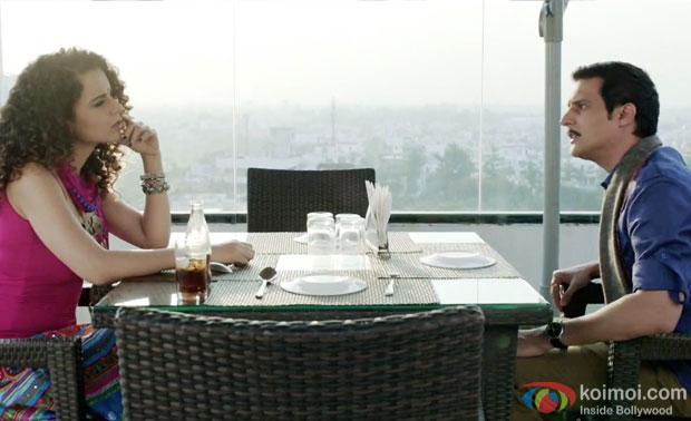 Kangana Ranaut and Jimmy Shergill in a still from movie 'Tanu Weds Manu Returns'