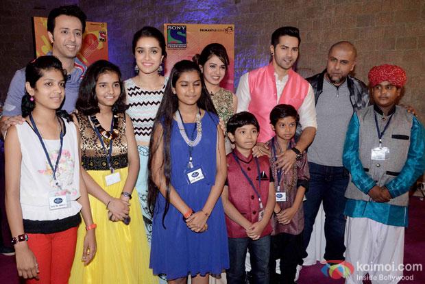Salim Merchant, Shraddha Kapoor, Shalmali Kholgade, Varun Dhawan and Vishal Dadlani during the promotion of ABCD2 At Auditions Of Indian Idol Junior 2