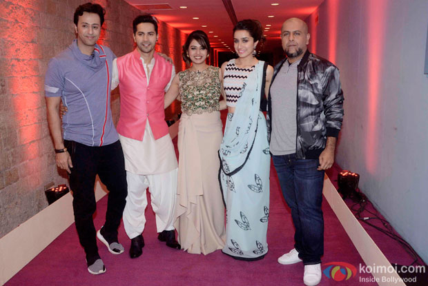 Salim Merchant, Varun Dhawan, Shalmali Kholgade, Shraddha Kapoor and Vishal Dadlani during the promotion of ABCD2 At Auditions Of Indian Idol Junior 2