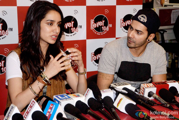 Shraddha Kapoor and Varun Dhawan during the promotion of 'ABCD 2' at  Fever 104 FM