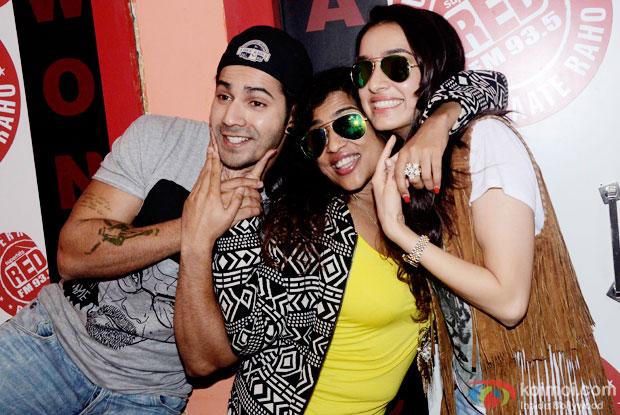Varun Dhawan, RJ Malishka and Shraddha Kapoor during the promotion of 'ABCD 2' at  Red FM