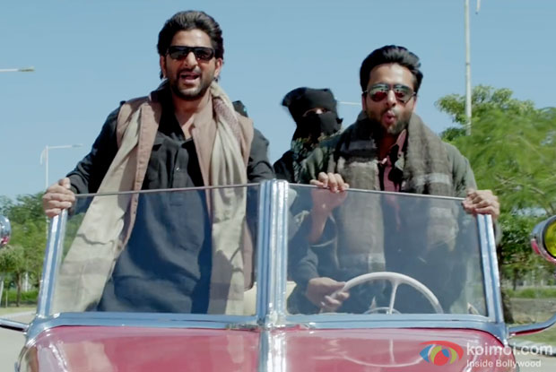 Arshad Warsi and Jackky Bhagnani in a still from movie 'Welcome To Karachi'
