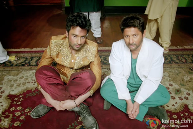 Jackky Bhagnani and Arshad Warsi in a still from movie 'Welcome to Karachi'