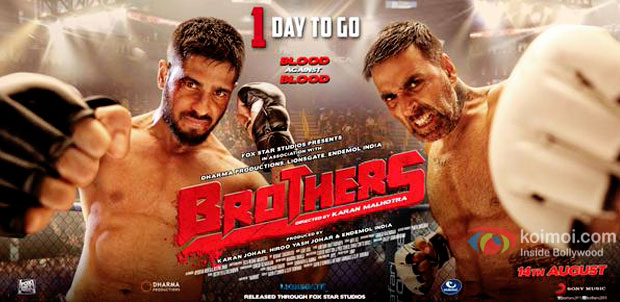 1 Day To Go : Akshay & Sidharth Pack A Punch On 'Brothers' Trailer Countdown Poster