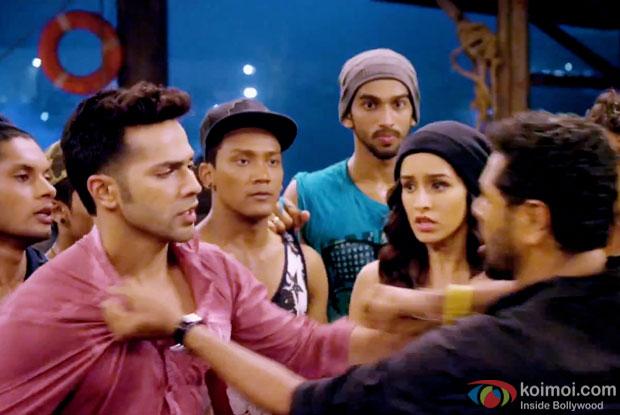 Varun Dhawan, Shraddha Kapoor and Prabhu Dheva in a still from movie 'ABCD 2'