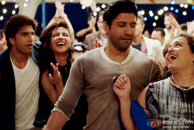 Ranveer Singh, Priyanka Chopra and Farhan Akhtar in a still from  movie 'Dil Dhadakne Do'