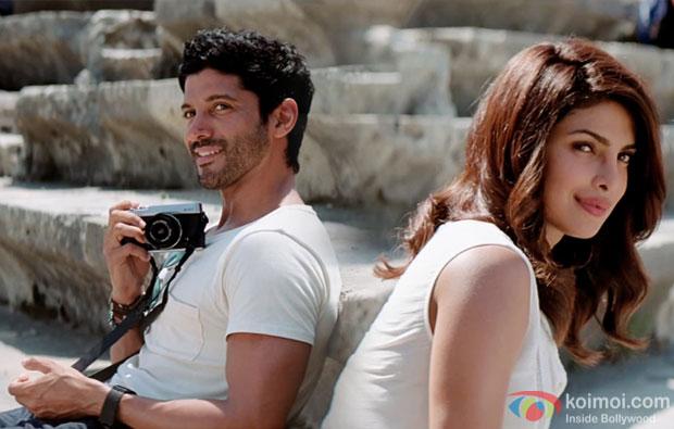 Farhan Akhtar and Priyanka Chopra in a still from movie 'Dil Dhadakne Do'