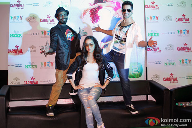 Remo D'Souza, Shraddha Kapoor and Varun Dhawan during the promotion of 'ABCD 2 at Carnival Cinemas in Indore
