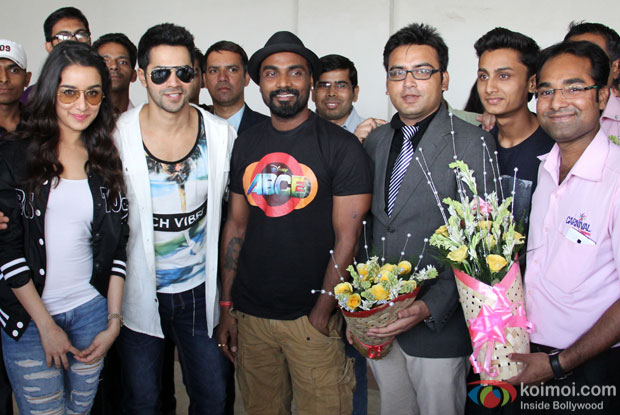 Shraddha Kapoor, Varun Dhawan and Remo D'Souza during the promotion of 'ABCD 2 at Carnival Cinemas in Indore