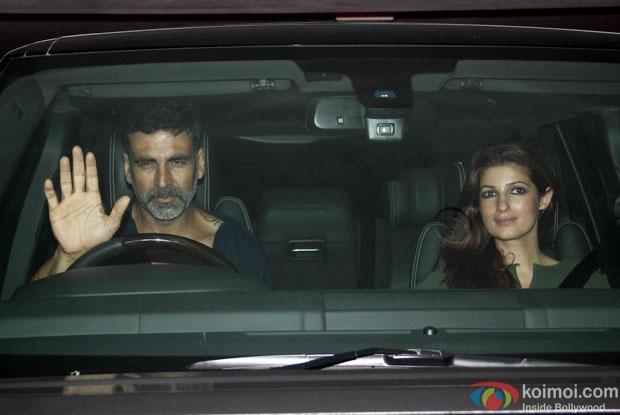 Akshay Kumar and Twinkle Khanna during the Karan Johar's bash for 'Brothers'