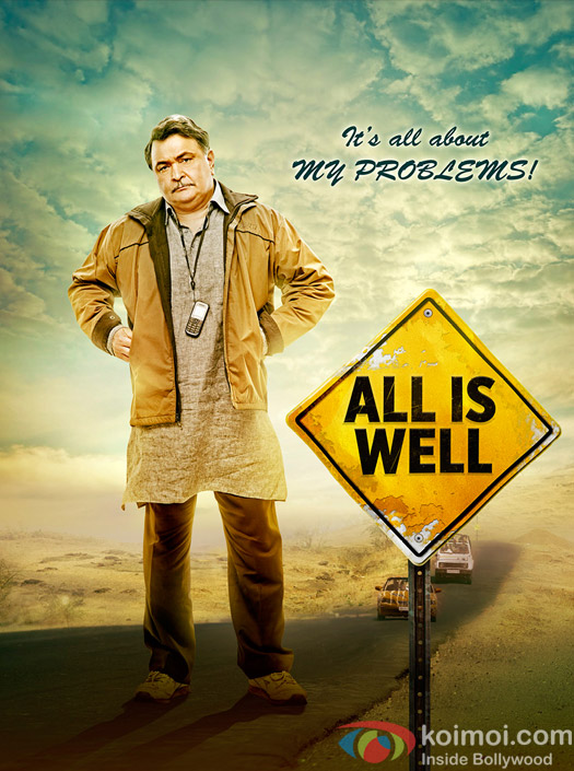 Rishi Kapoor in a still ffom 'All Is Well' movie poster