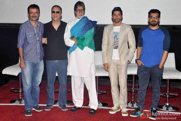 Rajkumar Hirani, Vidhu Vinod Chopra, Amitabh Bachchan, Farhan Akhtar and Bijoy Nambiar during the first look launch of the movie 'Wazir'