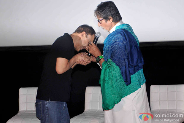 Vidhu Vinod Chopra and Amitabh Bachchan during the first look launch of the movie 'Wazir'