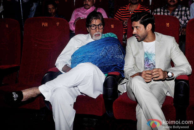 Amitabh Bachchan and Farhan Akhtar during the first look launch of the movie 'Wazir'