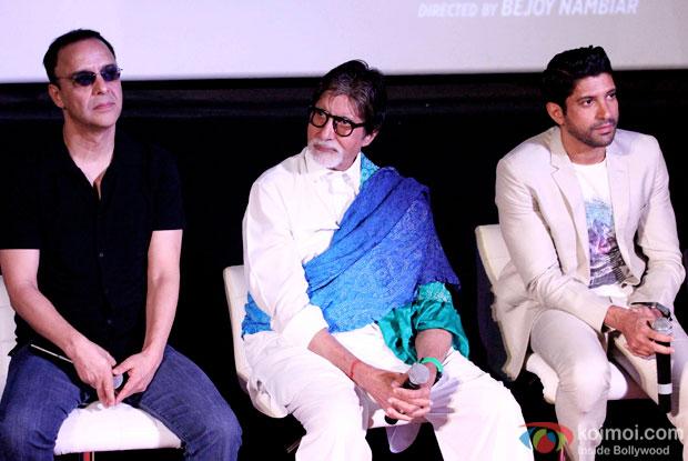 Vidhu Vinod Chopra, Amitabh Bachchan and Farhan Akhtar during the first look launch of the movie 'Wazir'